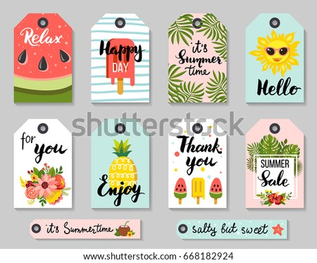 Summer sale and gift tags with cute elements, hand drawn calligraphy. Vector illustration