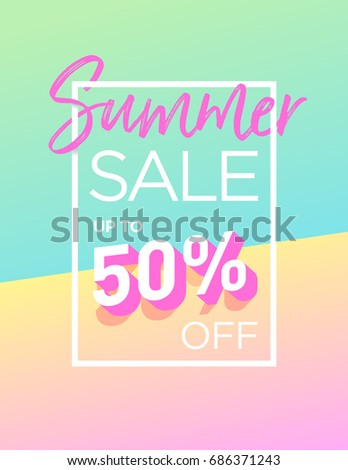 Summer sale background design with trendy colors. Vector EPS 10. Template for banners, newsletters, advertising, invitation, brochure, flyers, websites, voucher discount.