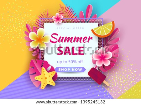 Summer sale background for banners, Pink palm leaves on a bright background.Season discounts. Template for flyer, invitation, poster, brochure, discount on voucher.