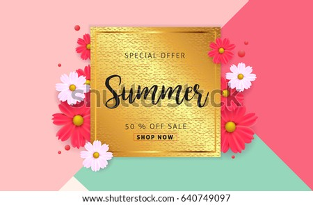 Summer sale background layout banners.voucher discount.Vector illustration template. #640749097