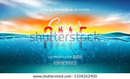Summer sale background template. Vector illustration with deep underwater ocean scene. Background with realistic clouds and marine horizon.