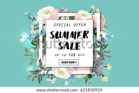 Summer sale background with flowers, ranunculus, succulent, eucalyptus. EPS10 vector illustration template. Banner, flyer, invitation, posters, brochure, voucher discount. Advertising