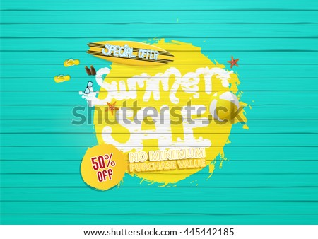 Shutterstock summer sale background, with painted wooden floor, and beach products.