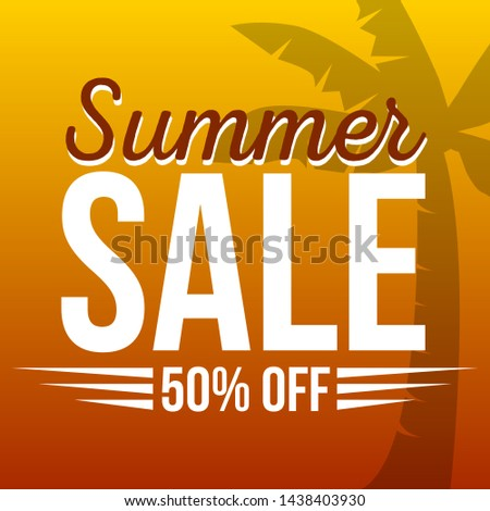 Summer sale background with palm. Vector for all social medias, banner, flyer. - Vector #1438403930