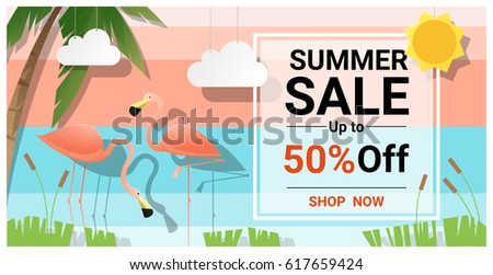 summer sale background with two