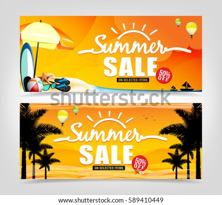 Summer Sale Banner Design in Isolated Background for Summer Promotions