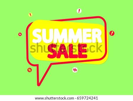 Summer Sale, banner design template, vector illustration