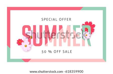 Summer sale banner design template.Vector illustration .discount voucher.