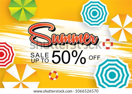 Summer sale 50% banner design template vector with text layout and umbrella color top view, bird eye view, flat design theme