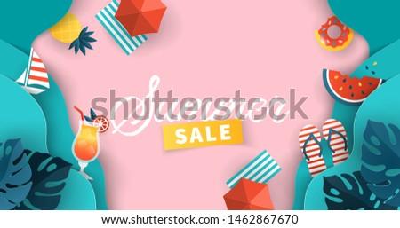 summer sale banner design with