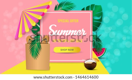 Summer sale banner for mobile and social media banner, poster, shopping ads, marketing material. Summer sale special offer background layout. Ad concept. Vector illustration