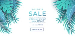 Summer sale banner in trendy style with exotic leaves. Paper tropical leaves design isolated on white background. Modern summer sale banner template. Vector illustration