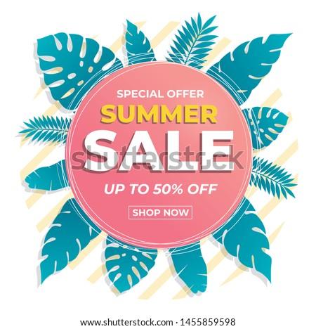 Summer sale banner modern design tropical leaves background. Promo badge for your seasonal design.