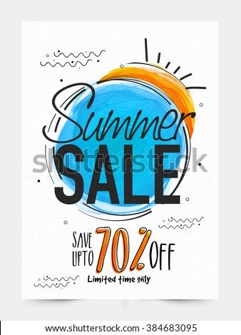 Summer Sale Banner, Sale Poster, Sale Flyer, Sale Vector. 70% Off, Sale Background. Big Sale, Super Sale, Special Offer on Every Brands.Vector illustration.