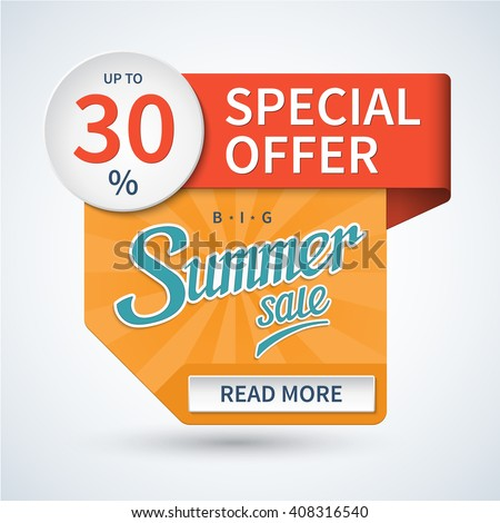 Summer sale banner. Special offer design template. Discount sticker. Vector background