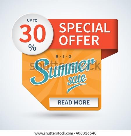 Summer sale banner. Special offer design template. Discount sticker. Vector background