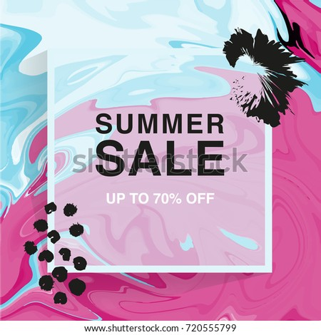 Summer sale banner. Square. Minimalism. Vector illustration. Abstract marble background, vector ink texture #720555799