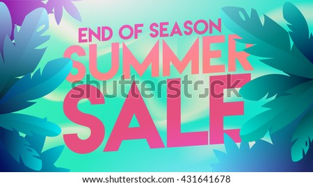 Summer sale banner. Summer Sale poster design for print or web. Vector discount banner.Summer time art design, travel, banner, discount template.