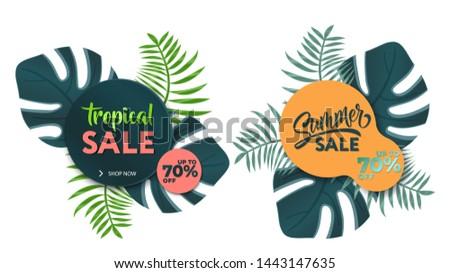 Summer sale banner template. Sticker collection. Fashion collection. Hot tropical sale banners. Summer sale banner modern design tropical leaves background.