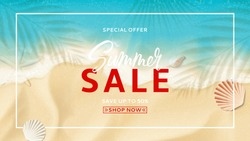 Summer sale banner template. Top view on sea beach with soft waves. Beautiful background with seashells on sea sand. Vector illustration with plant's shadows. Seasonal discount offer.