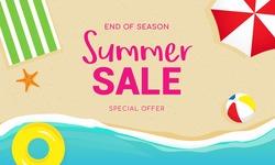 Summer sale banner vector illustration, Top view of summer beach.