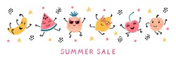 Summer Sale Banner with Cartoon Doodle Funny Cute Fruits and Berries. Vector Colorful Food  Set. Happy Kawaii Fruit icons Summer Collection