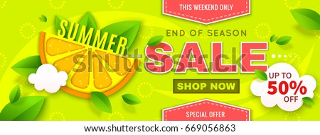 summer sale banner with orange