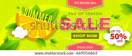 summer sale banner with orange