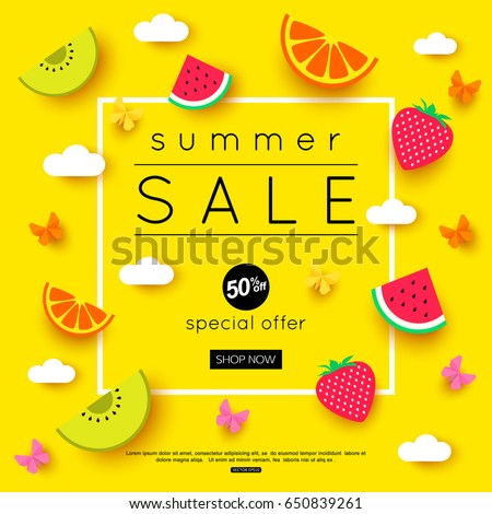 summer sale banner with pieces