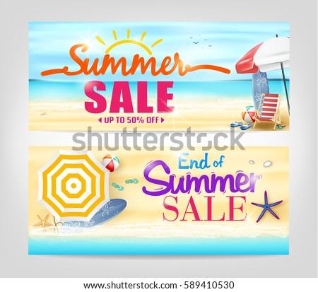 summer sale banners on isolated