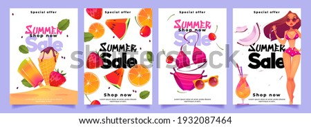 Summer sale banners with woman in bikini, cocktail, ice cream and fresh fruits. Social media post template for promotion and advertising. Vector set of posters with cartoon girl in swimsuit Foto stock ©