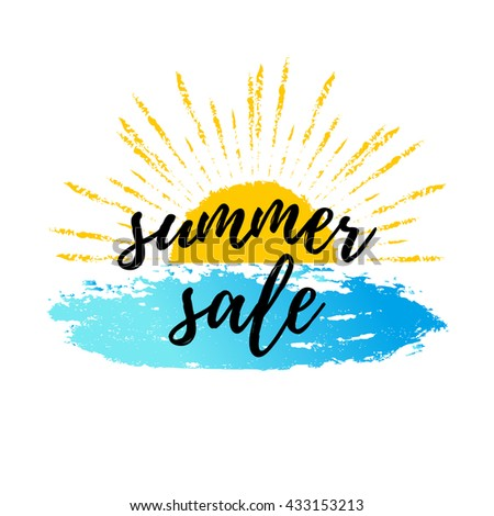 Summer sale calligraphic poster, web banner. Vector background with hand lettering. Vector summer illustration.