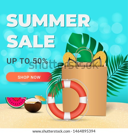 Summer sale card with realistic colorful summer elements for mobile and social media banner, poster, shopping ads, marketing material. Ad concept. Vector illustration