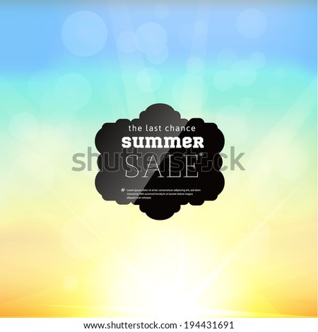 Summer Sale collection. Vector background with sun and black label.
