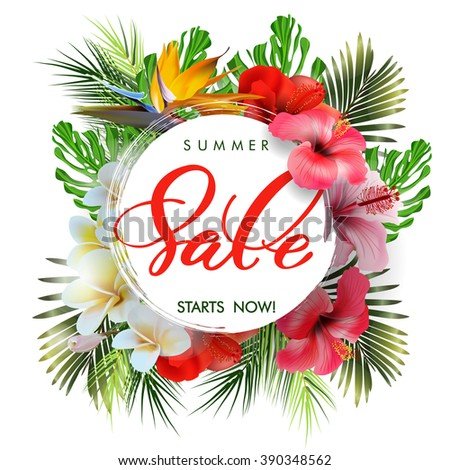 Summer sale Concept. Summer background with tropical flowers, butterflies. Template Vector.