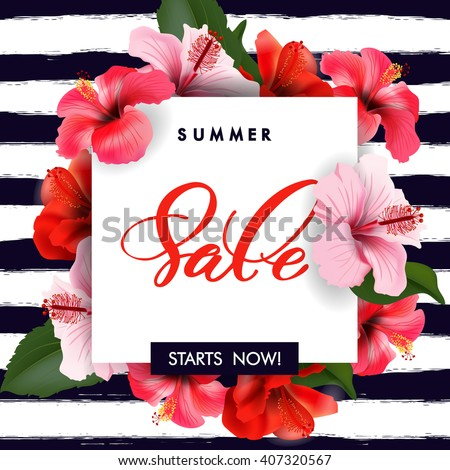Summer sale Concept. Summer background with tropical flowers.  Template Vector.