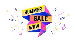 Summer Sale. 3d sale banner with text Summer Sale Wow for emotion, motivation. Modern 3d colorful web template on black backdrop. Design elements for sale, discount. Vector Illustration