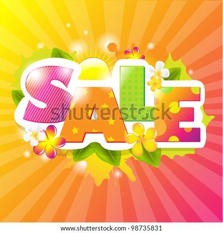 Summer Sale Design Template, Vector Illustration - stock vector