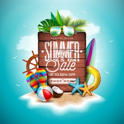 Summer Sale Design with Exotic Palm Leaves and Vintage Wood Board on Tropical Island Background. Vector Holiday Special Offer Illustration with Beach Ball and Flower for Coupon, Voucher, Banner, Flyer