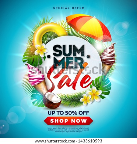 Summer Sale Design with Flower, Beach Holiday Elements and Exotic Leaves on Ocean Blue Background. Tropical Floral Vector Illustration with Special Offer Typography for Coupon, Voucher, Banner, Flyer