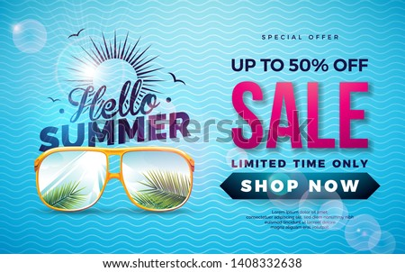 Summer Sale Design with Typography Letter and Exotic Palm Leaves in Sun Glasses on Blue Background. Tropical Vector Special Offer Illustration with Coupon, Voucher, Banner, Flyer, Promotional Poster