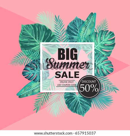 Summer sale exotic and tropic background design. Composition with palm leaves. Vector universal background with place for text.