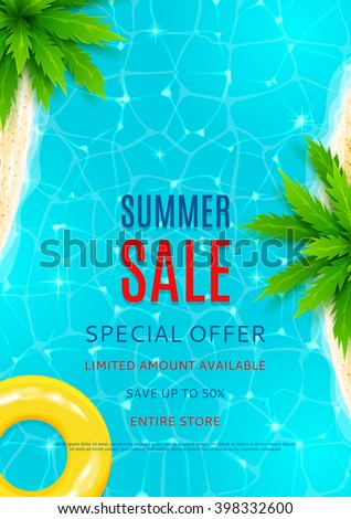 Summer sale flyer. Beautiful background on the sea topic with shore, water and palm trees for advertising. Vector illustration.