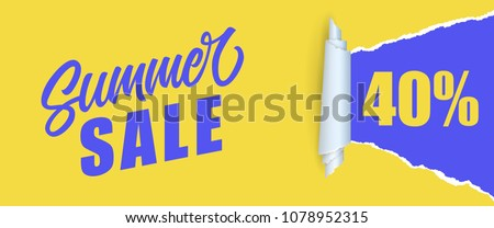 Summer sale Forty percent lettering. Shopping inscription in yellow and blue colors. Handwritten text, calligraphy. Can be used for greeting cards, posters and leaflets
