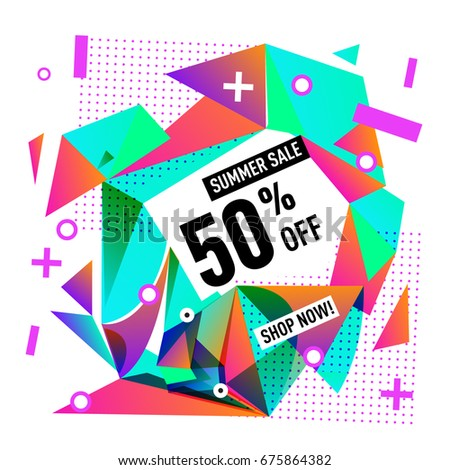 Summer sale geometric style web banner. Fashion and travel discount. Vector holiday Abstract colorful illustration with special offers and promotions. #675864382