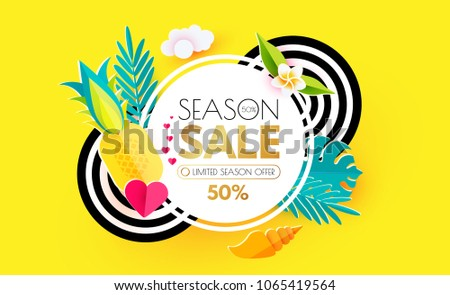 Summer Sale Layout Design Template. Paper Art. Season Offer with Circle Banner, Starfish, Pineapple, Shell, Palm and Monstera, Heart and Decorative Circles on Colorful Background. Vector illustration