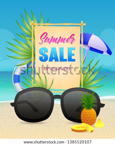 Summer Sale lettering with lifebuoy and sunglasses. Tourism, summer offer or sale design. Handwritten and typed text, calligraphy. For leaflets, brochures, invitations, posters or banners.
