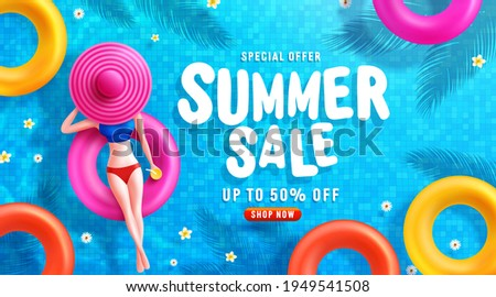 Summer Sale poster and banner template with Women on round pool floats in the tiled pool Background. Sale banner Design for Summer in flat lay styling. Promotion and shopping template for Summer