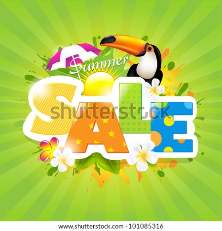 Summer Sale Poster Design Template, Vector Illustration