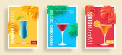 Summer sale posters with promo deals for alcohol cocktails, realistic 3d illustrations, different shape glasses with umbrella and tropical leaves, happy hour promo for bar